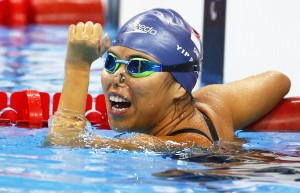 2016 Rio Paralympics - Swimming - Women's 100M Backstroke - S2 Final - Olympic Aquatics Stadium - Rio de Janeiro, Brazil - 09/09/2016.  Singapore's Yip Pin Xiu celebrates winning gold TSRIO2016 REUTERS/Jason O'Brien FOR EDITORIAL USE ONLY. NOT FOR SALE FOR MARKETING OR ADVERTISING CAMPAIGNS.