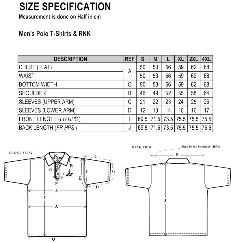 Men's Polo T-shirt size chart | Singapore National Paralympic Council